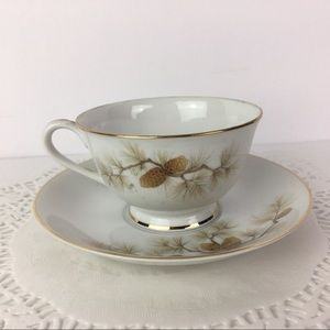 Three Castle China Teacup and Saucer